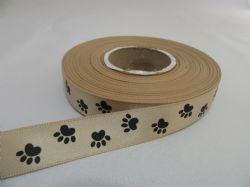 Light Gold  with Black Paw Print  Satin ribbon, 2 or 25 metres, Double sided 15mm